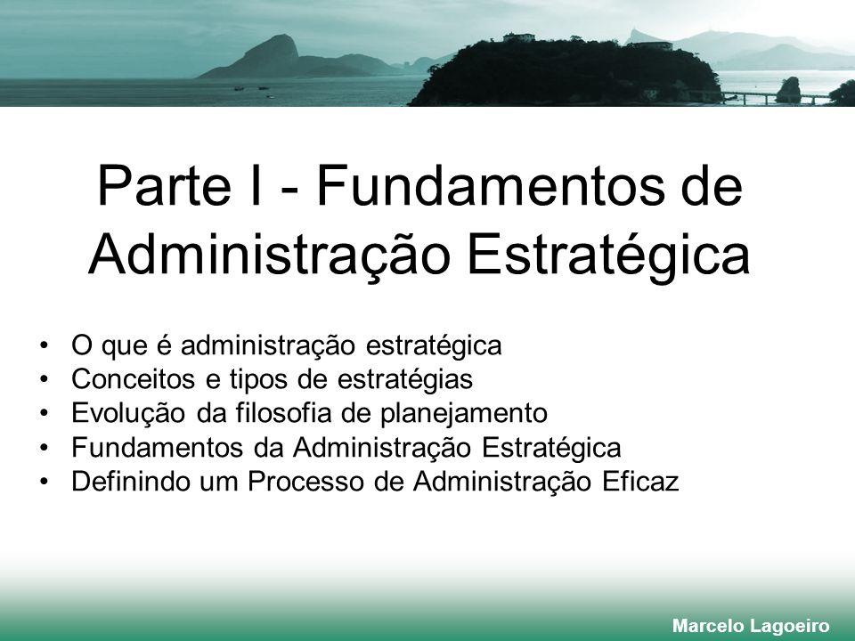 Marcelo Lagoeiro Parte I - Fundamentos de Administração Estratégica O que é administração estratégica Conceitos e tipos de estratégias Evolução da filosofia de planejamento Fundamentos da Administração Estratégica Definindo um Processo de Administração Eficaz