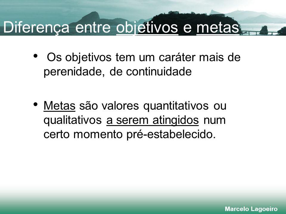 Marcelo Lagoeiro Diferença entre objetivos e metas Os objetivos tem um caráter mais de perenidade, de continuidade Metas são valores quantitativos ou qualitativos a serem atingidos num certo momento pré-estabelecido.