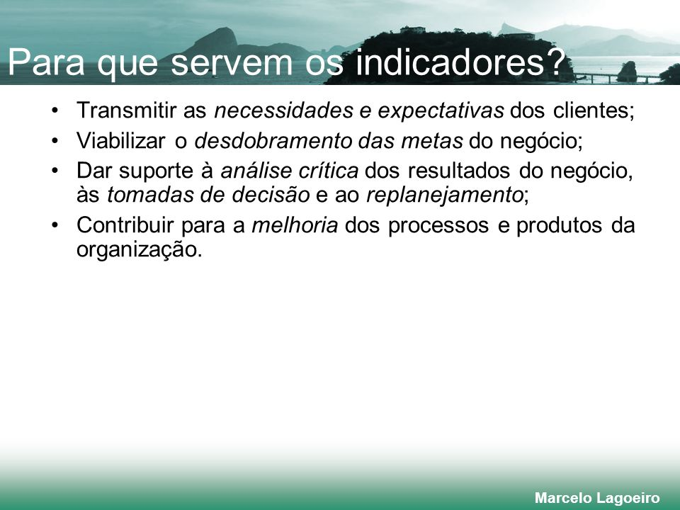 Marcelo Lagoeiro Para que servem os indicadores.