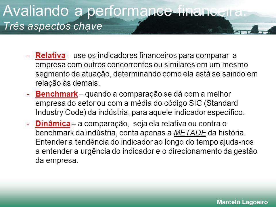 Marcelo Lagoeiro Avaliando a performance financeira: Três aspectos chave -Relativa – use os indicadores financeiros para comparar a empresa com outros concorrentes ou similares em um mesmo segmento de atuação, determinando como ela está se saindo em relação às demais.