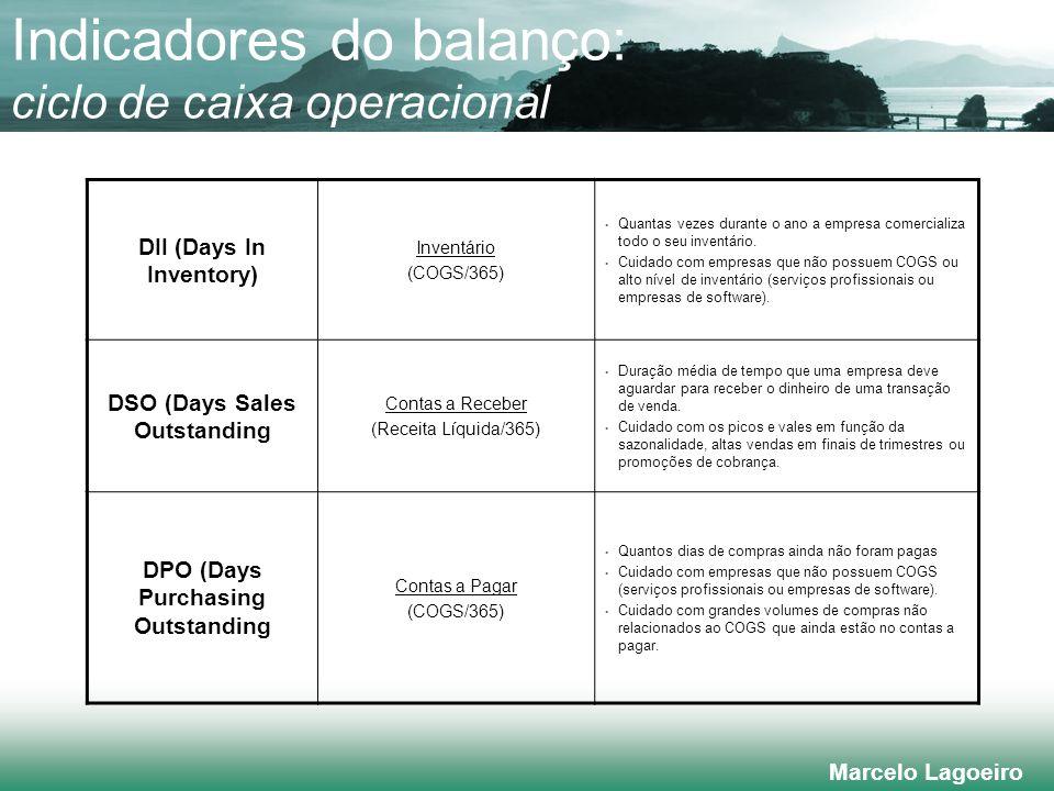 Marcelo Lagoeiro Indicadores do balanço: ciclo de caixa operacional DII (Days In Inventory) Inventário (COGS/365) Quantas vezes durante o ano a empresa comercializa todo o seu inventário.