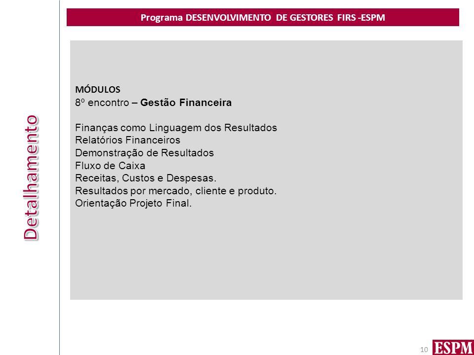 Programa DESENVOLVIMENTO DE GESTORES FIRS -ESPM 10 MÓDULOS 8º encontro – Gestão Financeira Finanças como Linguagem dos Resultados Relatórios Financeiros Demonstração de Resultados Fluxo de Caixa Receitas, Custos e Despesas.