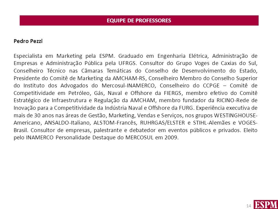 EQUIPE DE PROFESSORES 14 Pedro Pezzi Especialista em Marketing pela ESPM. Graduado em Engenharia Elétrica, Administração de Empresas e Administração P