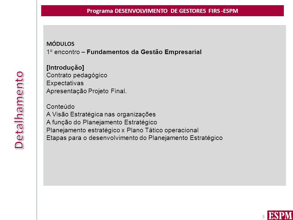Programa DESENVOLVIMENTO DE GESTORES FIRS -ESPM 3 MÓDULOS 1º encontro – Fundamentos da Gestão Empresarial [Introdução] Contrato pedagógico Expectativas Apresentação Projeto Final.