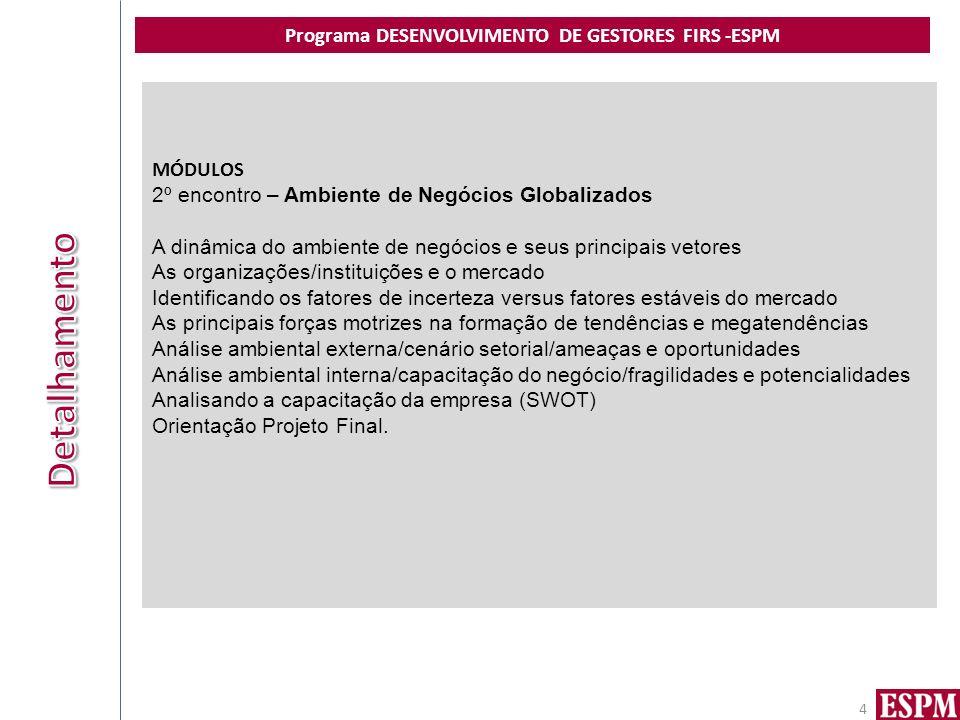 Programa DESENVOLVIMENTO DE GESTORES FIRS -ESPM 4 MÓDULOS 2º encontro – Ambiente de Negócios Globalizados A dinâmica do ambiente de negócios e seus pr