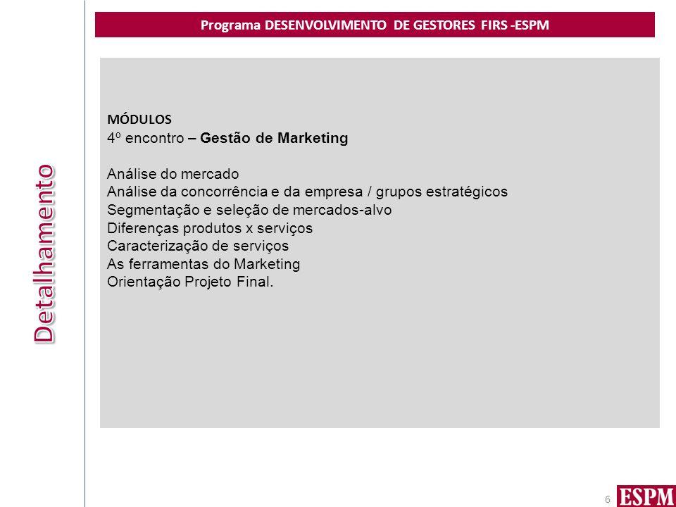 Programa DESENVOLVIMENTO DE GESTORES FIRS -ESPM 6 MÓDULOS 4º encontro – Gestão de Marketing Análise do mercado Análise da concorrência e da empresa /