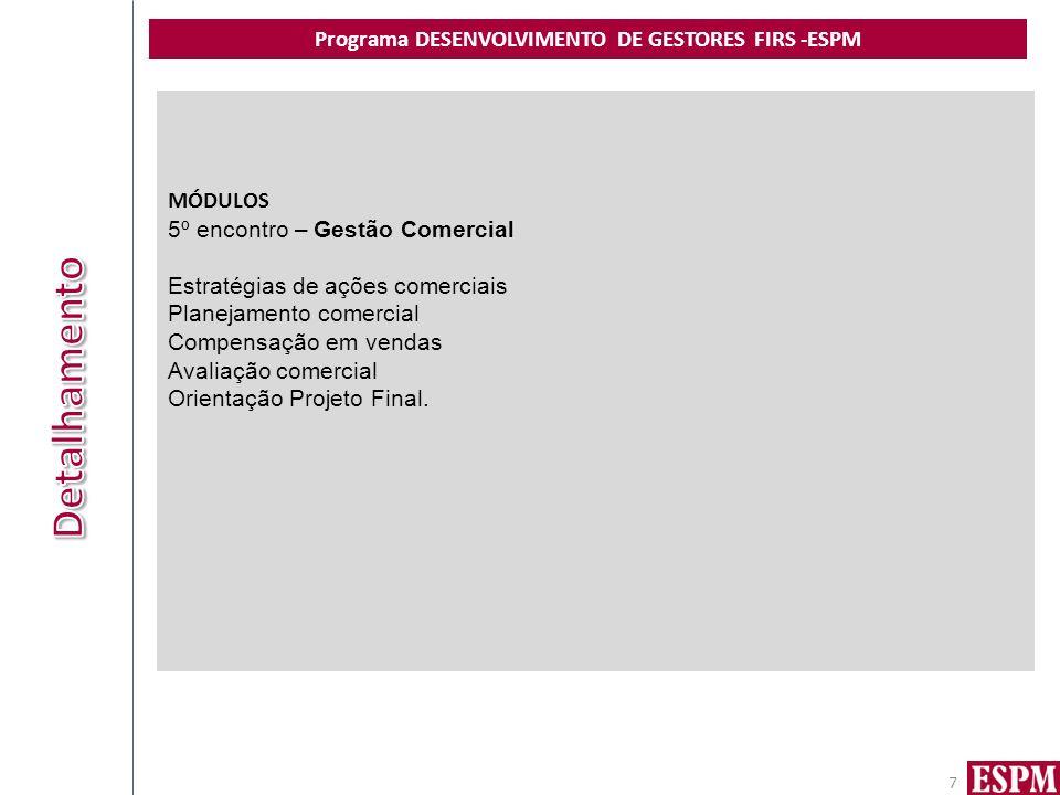 Programa DESENVOLVIMENTO DE GESTORES FIRS -ESPM 7 MÓDULOS 5º encontro – Gestão Comercial Estratégias de ações comerciais Planejamento comercial Compensação em vendas Avaliação comercial Orientação Projeto Final.