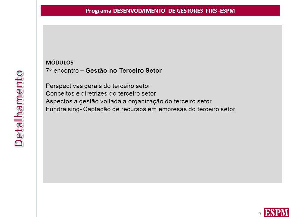 Programa DESENVOLVIMENTO DE GESTORES FIRS -ESPM 9 MÓDULOS 7º encontro – Gestão no Terceiro Setor Perspectivas gerais do terceiro setor Conceitos e dir