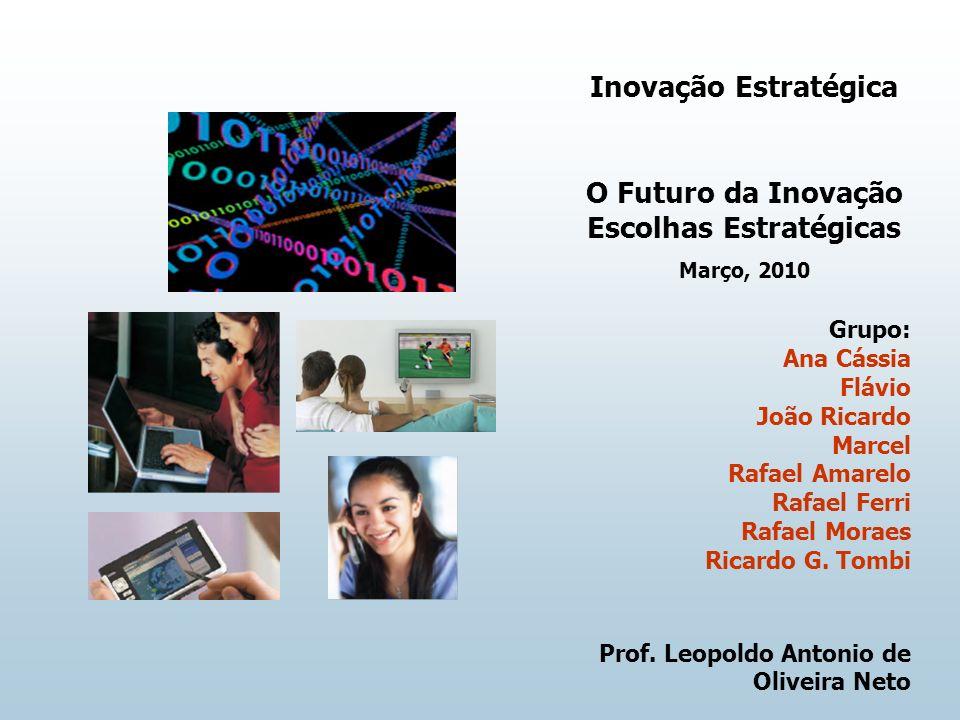 Inovação Estratégica O Futuro da Inovação Escolhas Estratégicas Março, 2010 Grupo: Ana Cássia Flávio João Ricardo Marcel Rafael Amarelo Rafael Ferri Rafael Moraes Ricardo G.