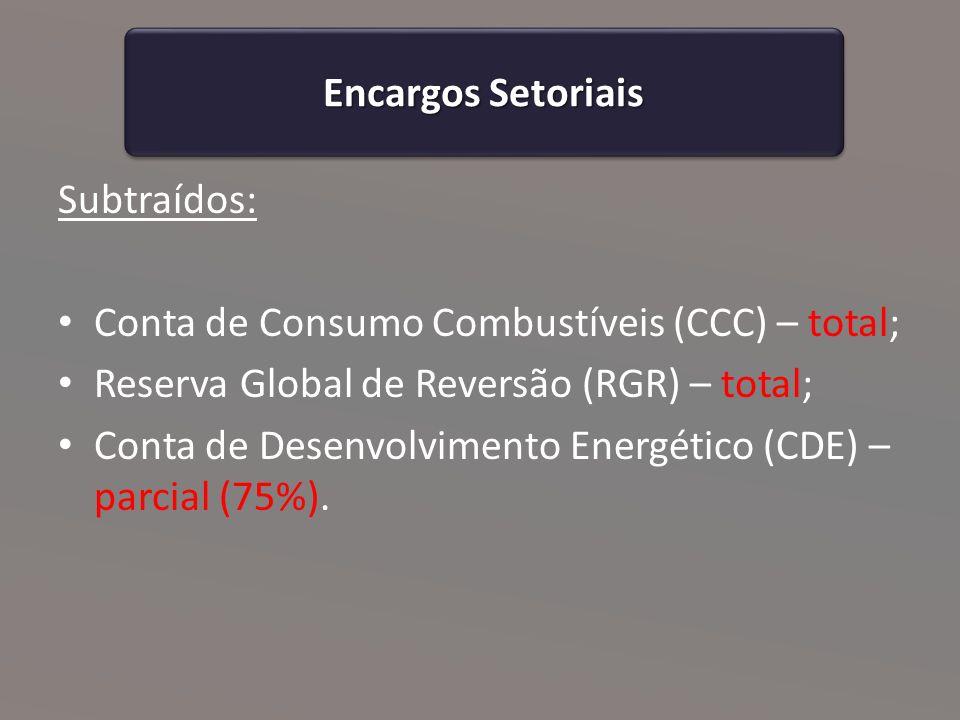 Encargos Setoriais Subtraídos: Conta de Consumo Combustíveis (CCC) – total; Reserva Global de Reversão (RGR) – total; Conta de Desenvolvimento Energético (CDE) – parcial (75%).
