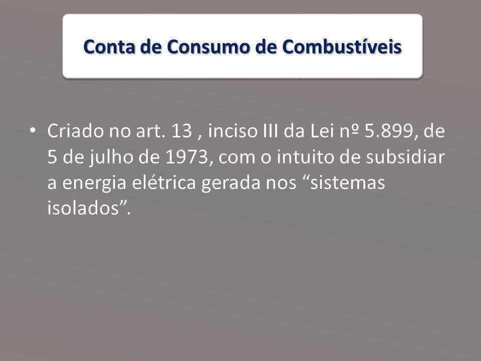 Conta de Consumo de Combustíveis Criado no art.
