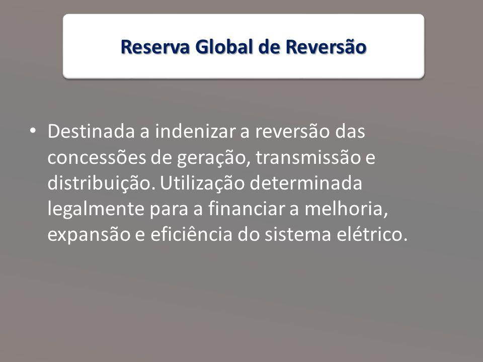 Reserva Global de Reversão Destinada a indenizar a reversão das concessões de geração, transmissão e distribuição.