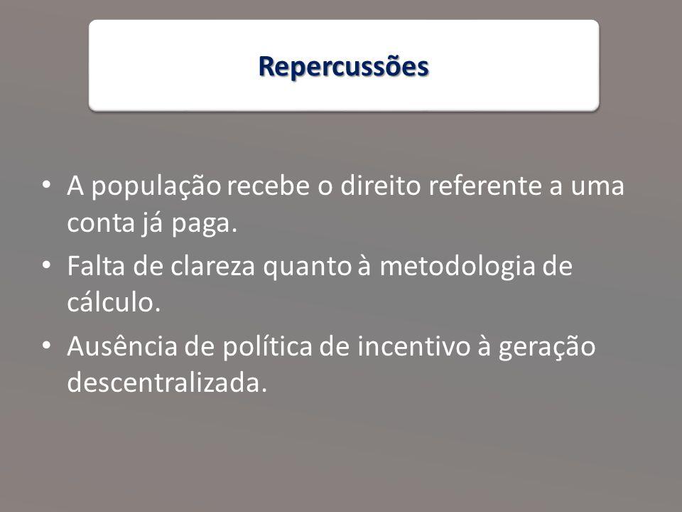 RepercussõesRepercussões A população recebe o direito referente a uma conta já paga.
