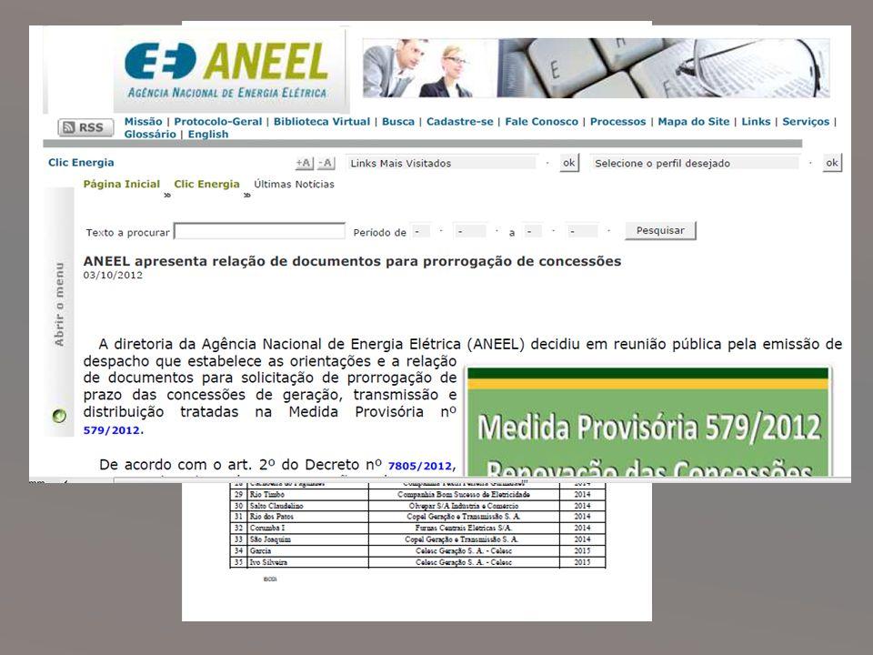 Renovações das Concessões A Aneel listou cerca de 123 Usinas Hidrelétricas alcançadas pela MP 579 para renovar suas concessões.