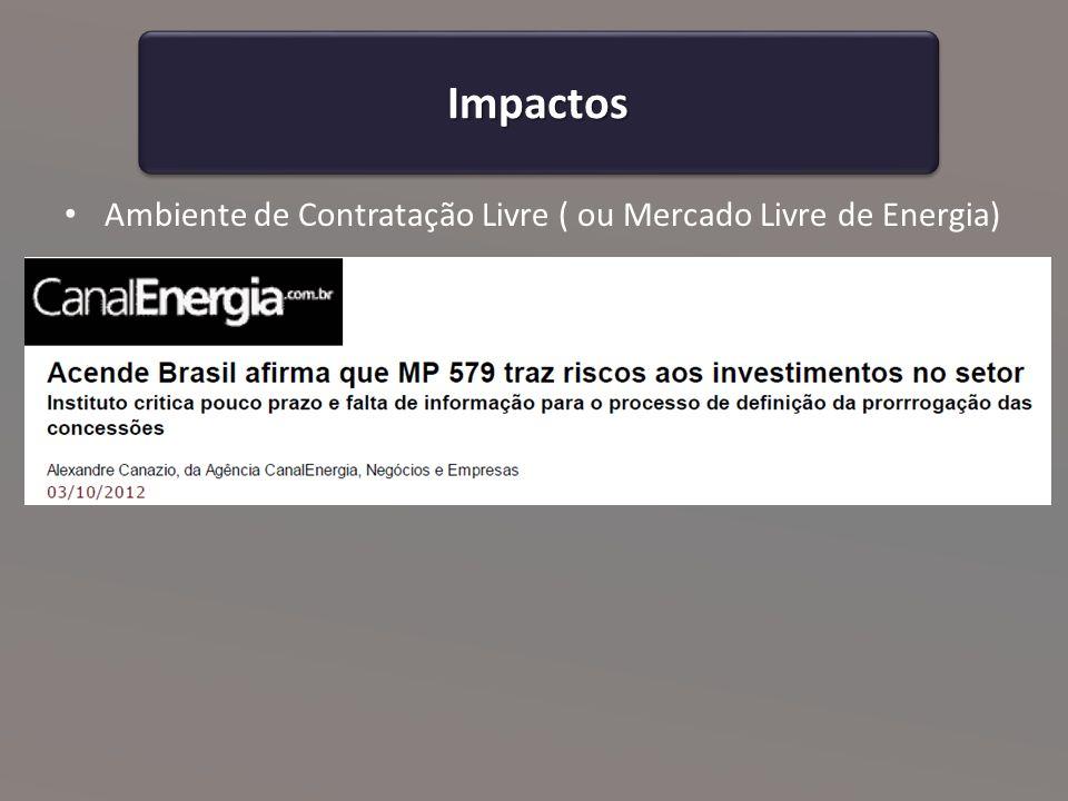 Ambiente de Contratação Livre ( ou Mercado Livre de Energia) ImpactosImpactos