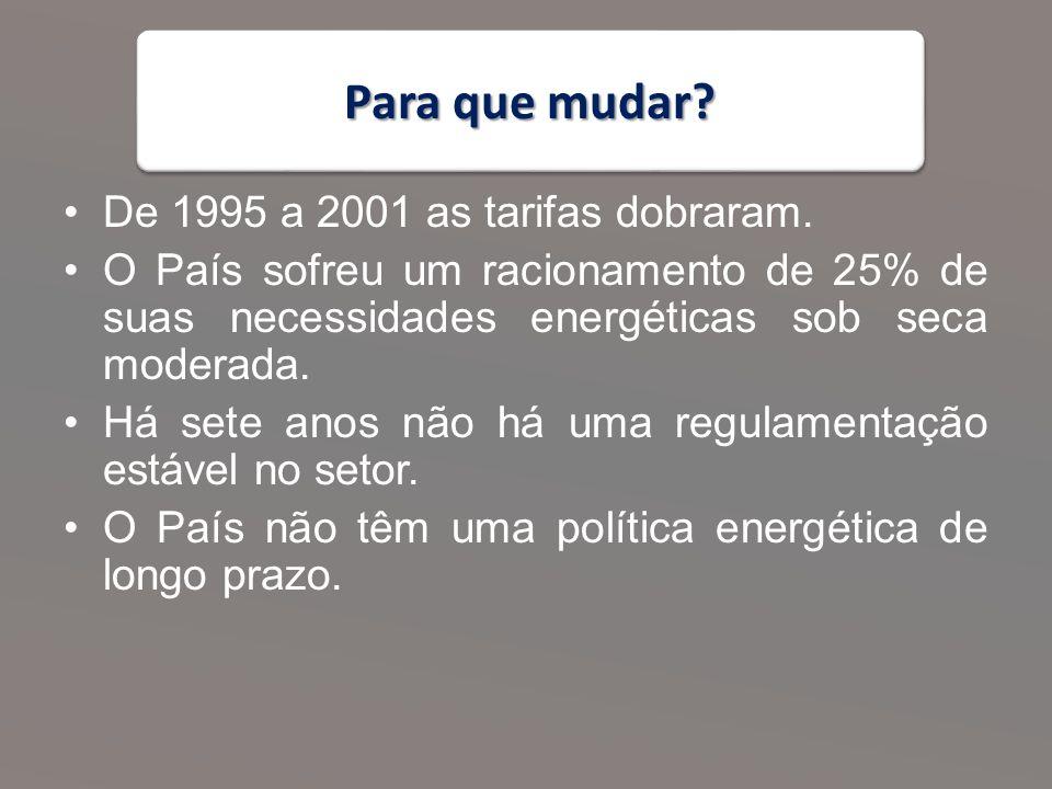 Para que mudar.De 1995 a 2001 as tarifas dobraram.