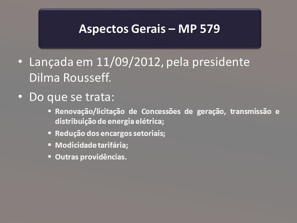 Decreto 7.805/2012 Aspectos Gerais Publicado no dia 14 de setembro; Regulamenta a MP 579/2012.