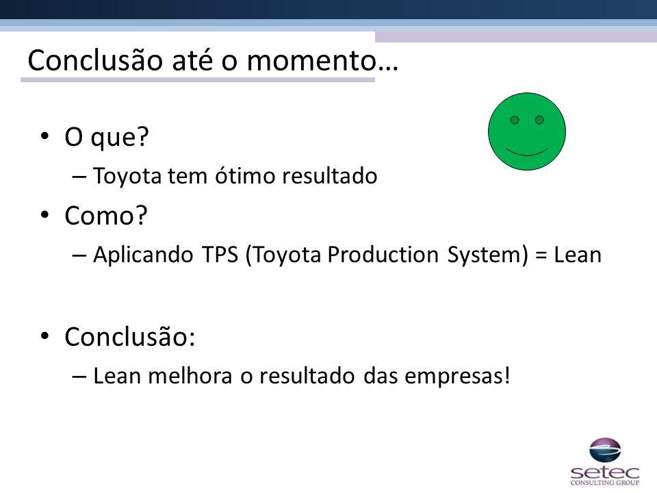 Conclusão até o momento… O que? – Toyota tem ótimo resultado Como? – Aplicando TPS (Toyota Production System) = Lean Conclusão: – Lean melhora o resul