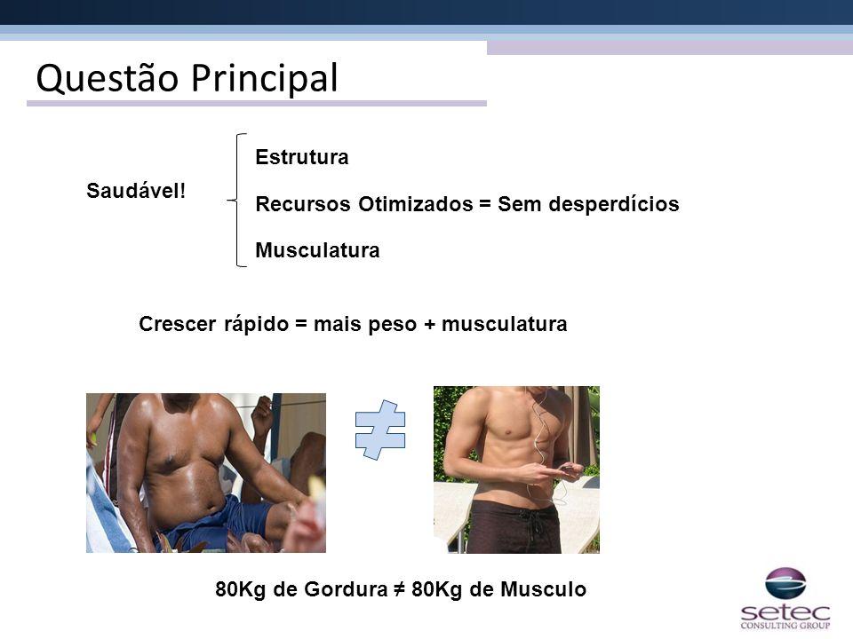 Questão Principal Saudável! Estrutura Recursos Otimizados = Sem desperdícios Musculatura Crescer rápido = mais peso + musculatura 80Kg de Gordura 80Kg