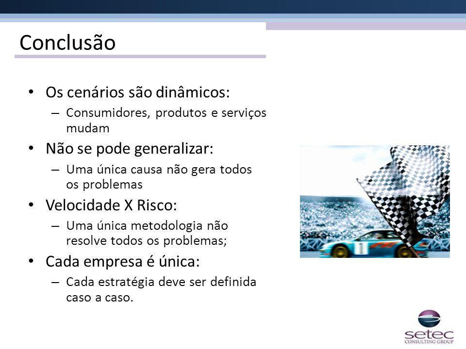 Conclusão Os cenários são dinâmicos: – Consumidores, produtos e serviços mudam Não se pode generalizar: – Uma única causa não gera todos os problemas