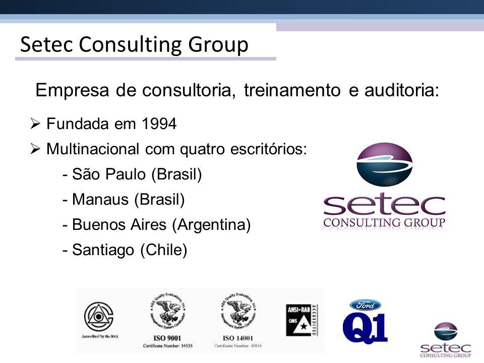 Setec Consulting Group Fundada em 1994 Multinacional com quatro escritórios: - São Paulo (Brasil) - Manaus (Brasil) - Buenos Aires (Argentina) - Santi