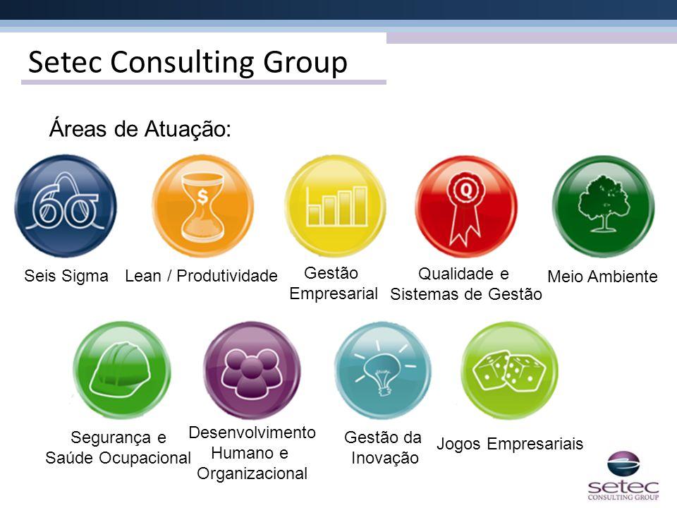 Setec Consulting Group Áreas de Atuação: Seis SigmaLean / Produtividade Gestão Empresarial Qualidade e Sistemas de Gestão Meio Ambiente Segurança e Sa