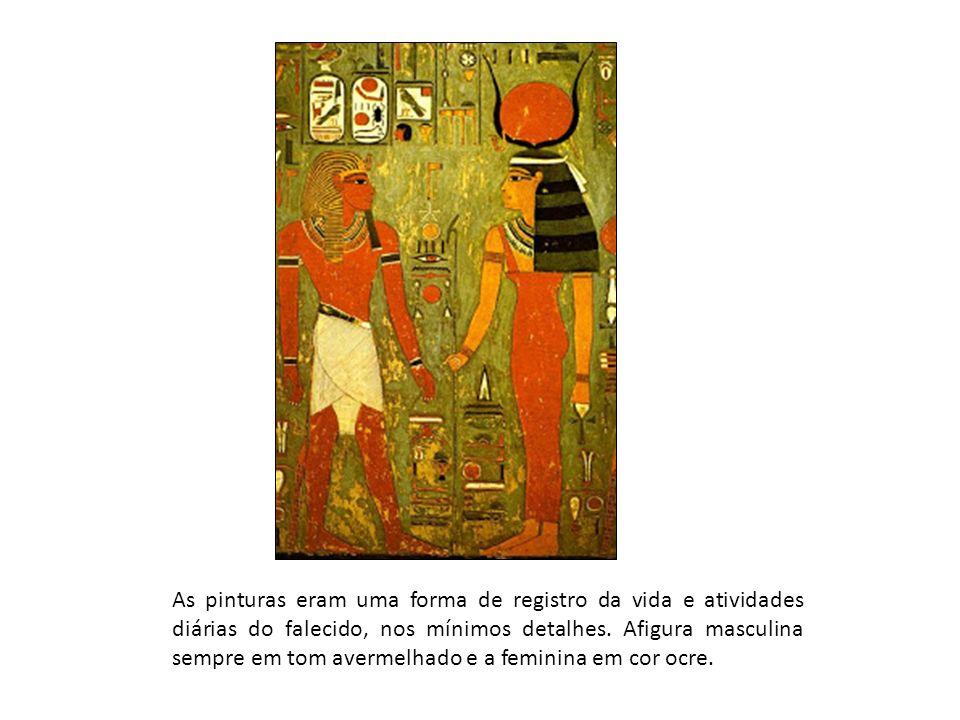 As pinturas eram uma forma de registro da vida e atividades diárias do falecido, nos mínimos detalhes. Afigura masculina sempre em tom avermelhado e a