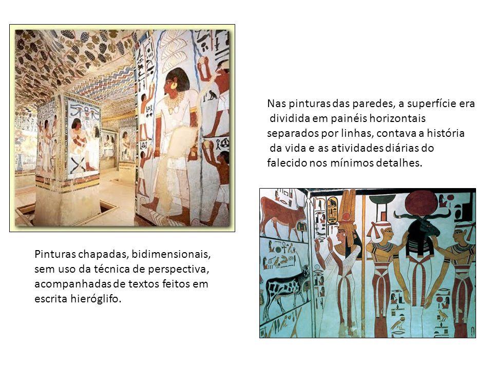 Pinturas chapadas, bidimensionais, sem uso da técnica de perspectiva, acompanhadas de textos feitos em escrita hieróglifo. Nas pinturas das paredes, a