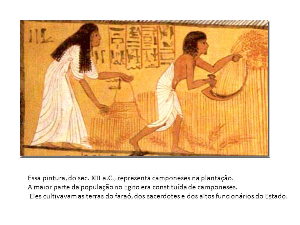 Essa pintura, do sec. XIII a.C., representa camponeses na plantação. A maior parte da população no Egito era constituída de camponeses. Eles cultivava