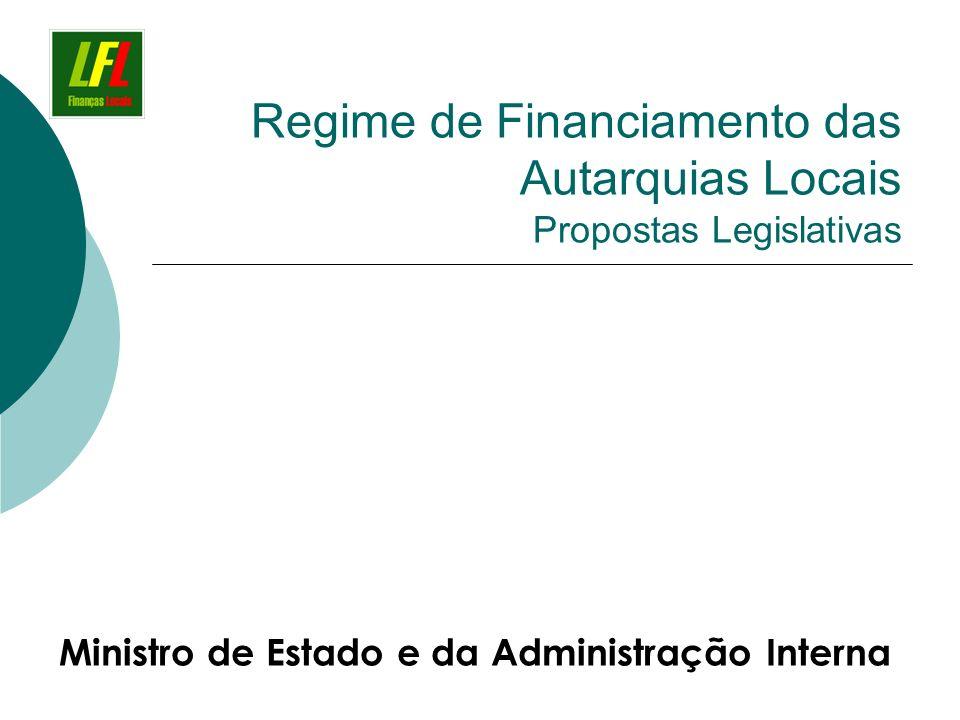 Regime de Financiamento das Autarquias Locais Propostas Legislativas Ministro de Estado e da Administração Interna
