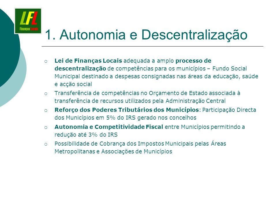 1. Autonomia e Descentralização Lei de Finanças Locais adequada a amplo processo de descentralização de competências para os municípios – Fundo Social