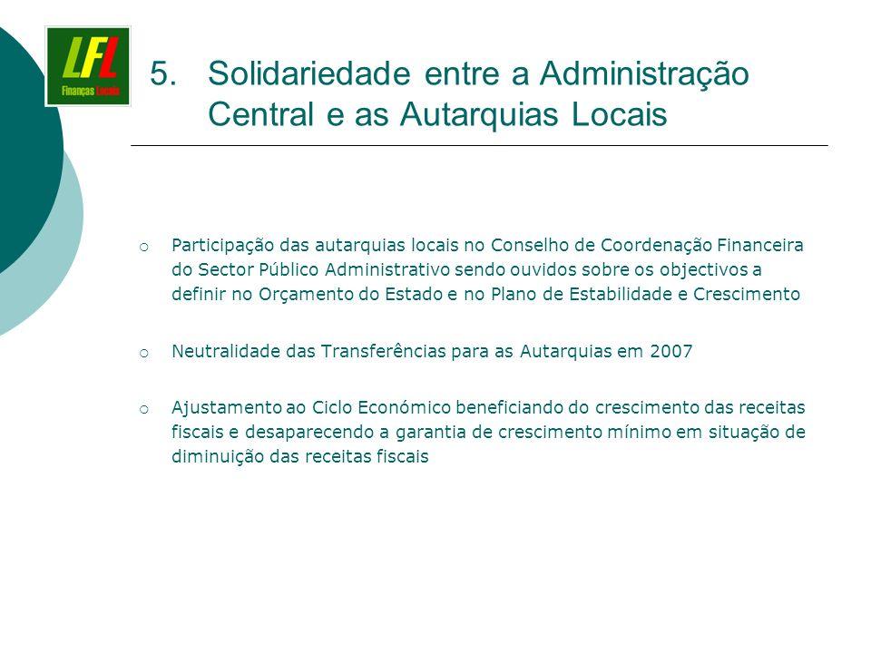 5.Solidariedade entre a Administração Central e as Autarquias Locais Participação das autarquias locais no Conselho de Coordenação Financeira do Secto