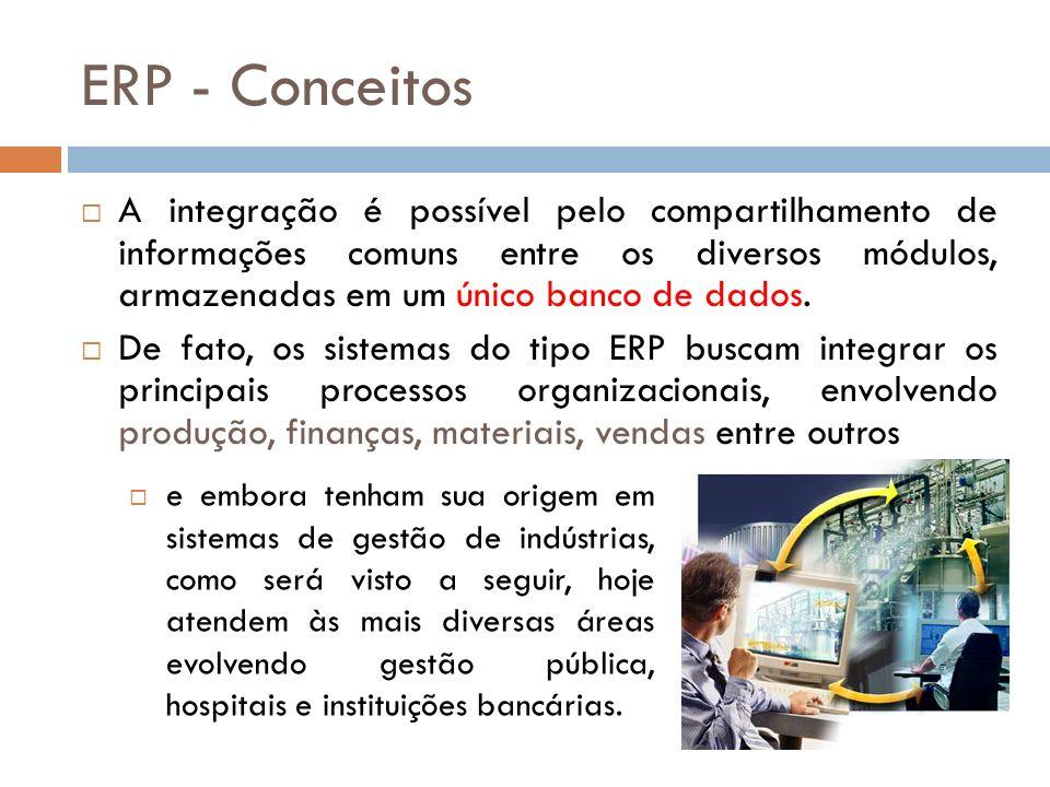 ERP - Conceitos A integração é possível pelo compartilhamento de informações comuns entre os diversos módulos, armazenadas em um único banco de dados.