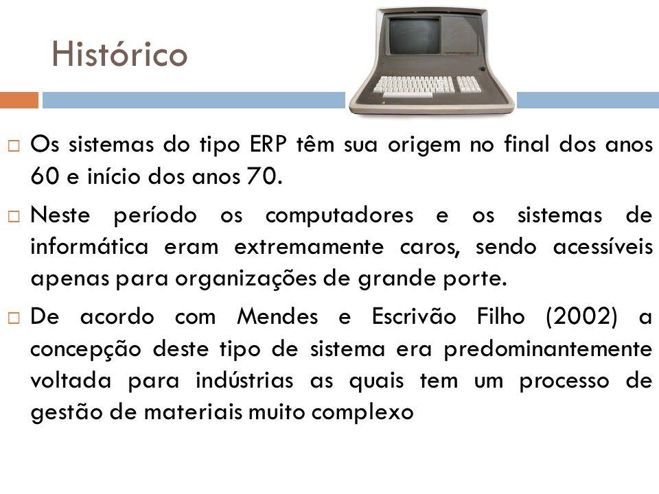 Histórico Os sistemas do tipo ERP têm sua origem no final dos anos 60 e início dos anos 70.