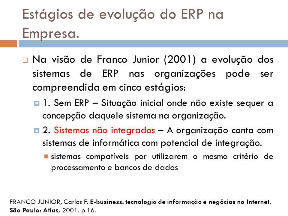 Estágios de evolução do ERP na Empresa.