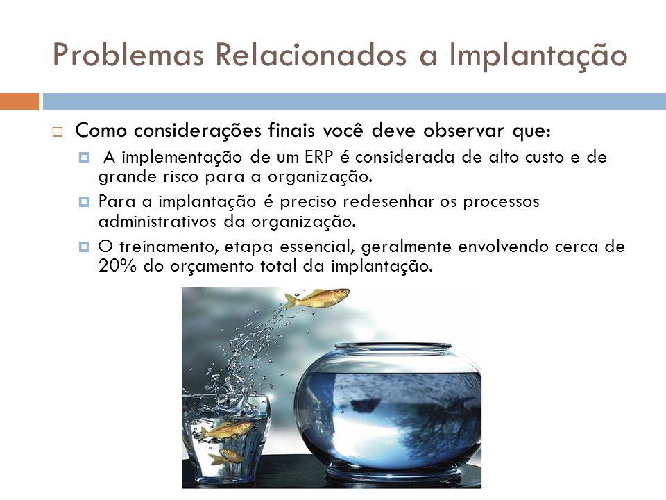 Problemas Relacionados a Implantação Como considerações finais você deve observar que: A implementação de um ERP é considerada de alto custo e de grande risco para a organização.