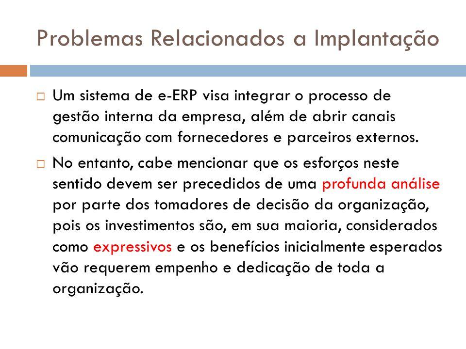 Problemas Relacionados a Implantação Um sistema de e-ERP visa integrar o processo de gestão interna da empresa, além de abrir canais comunicação com fornecedores e parceiros externos.