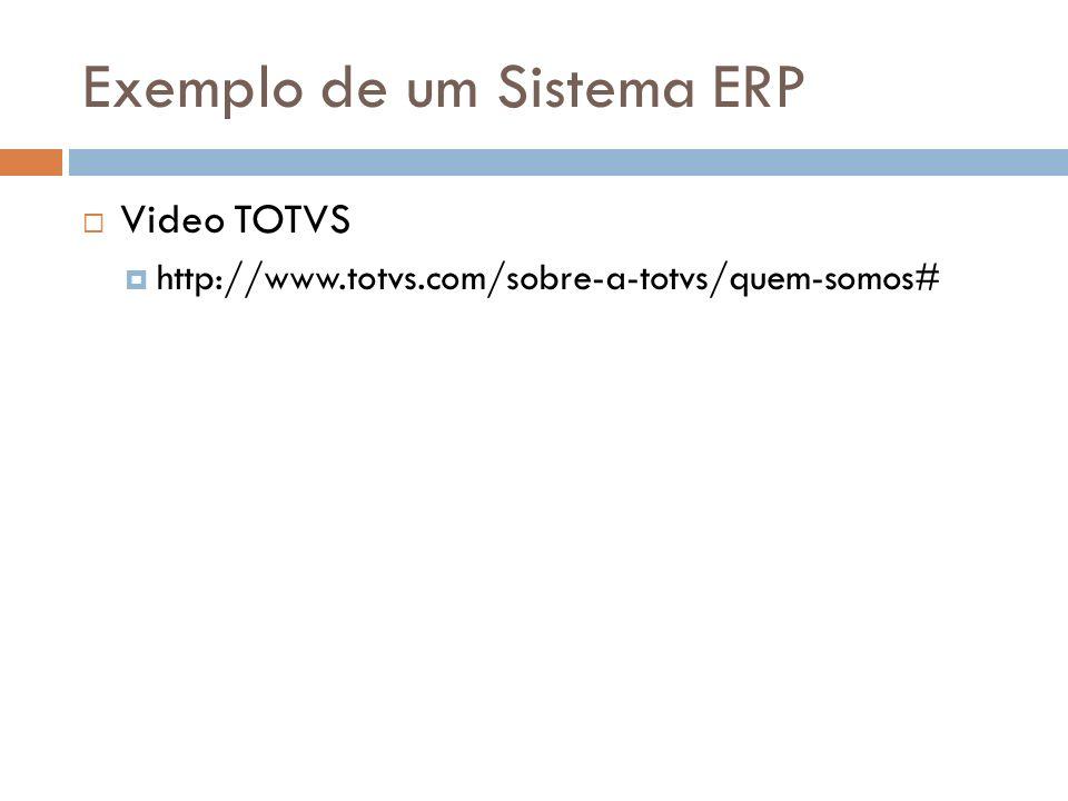 Exemplo de um Sistema ERP Video TOTVS http://www.totvs.com/sobre-a-totvs/quem-somos#