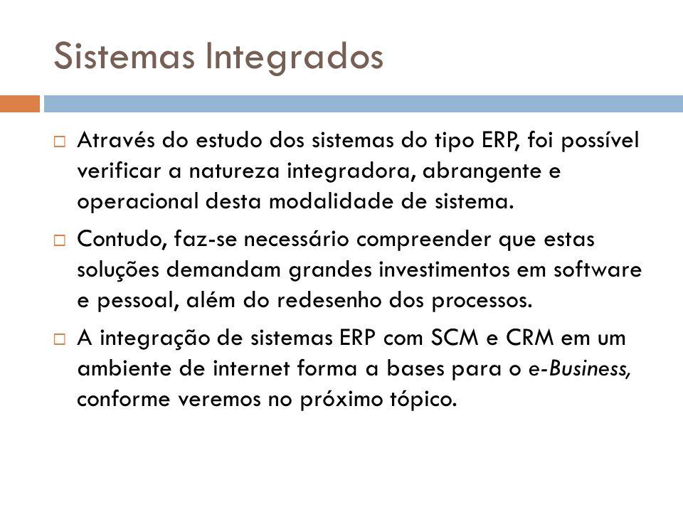 Sistemas Integrados Através do estudo dos sistemas do tipo ERP, foi possível verificar a natureza integradora, abrangente e operacional desta modalidade de sistema.