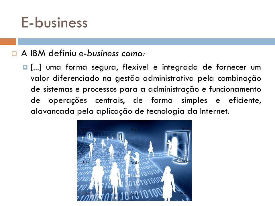 E-business A IBM definiu e-business como: [...] uma forma segura, flexível e integrada de fornecer um valor diferenciado na gestão administrativa pela combinação de sistemas e processos para a administração e funcionamento de operações centrais, de forma simples e eficiente, alavancada pela aplicação de tecnologia da Internet.