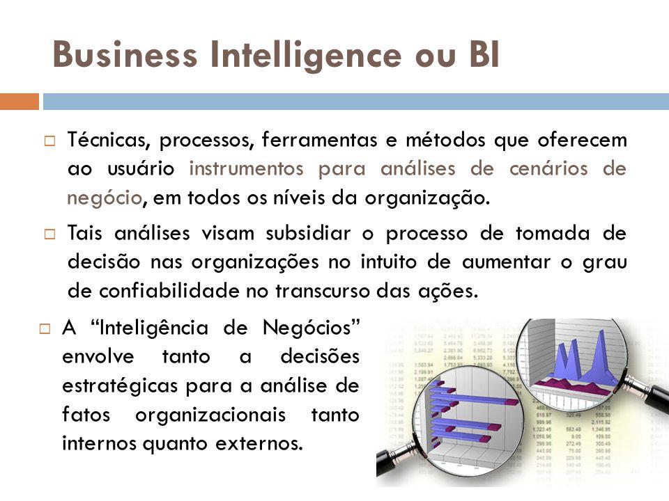 Business Intelligence ou BI Técnicas, processos, ferramentas e métodos que oferecem ao usuário instrumentos para análises de cenários de negócio, em todos os níveis da organização.