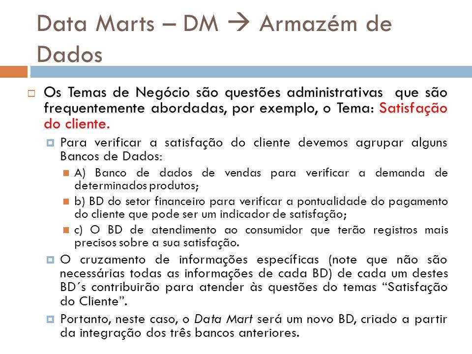 Data Marts – DM Armazém de Dados Os Temas de Negócio são questões administrativas que são frequentemente abordadas, por exemplo, o Tema: Satisfação do cliente.