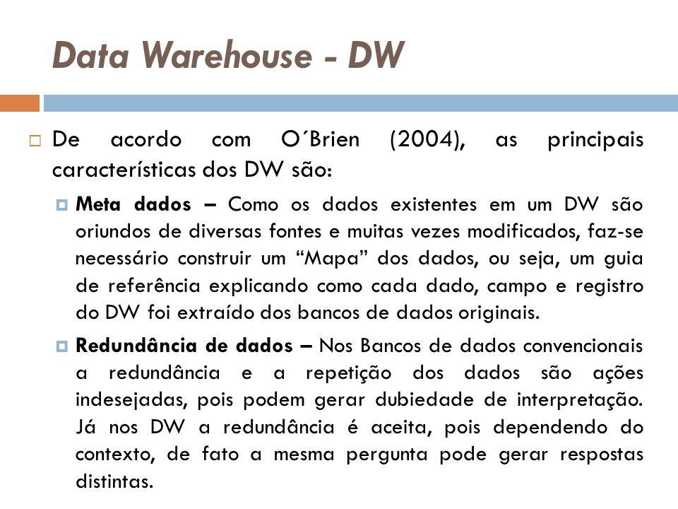 Data Warehouse - DW De acordo com O´Brien (2004), as principais características dos DW são: Meta dados – Como os dados existentes em um DW são oriundos de diversas fontes e muitas vezes modificados, faz-se necessário construir um Mapa dos dados, ou seja, um guia de referência explicando como cada dado, campo e registro do DW foi extraído dos bancos de dados originais.