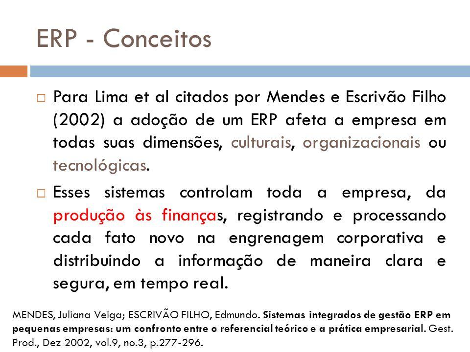 ERP - Conceitos Para Lima et al citados por Mendes e Escrivão Filho (2002) a adoção de um ERP afeta a empresa em todas suas dimensões, culturais, organizacionais ou tecnológicas.