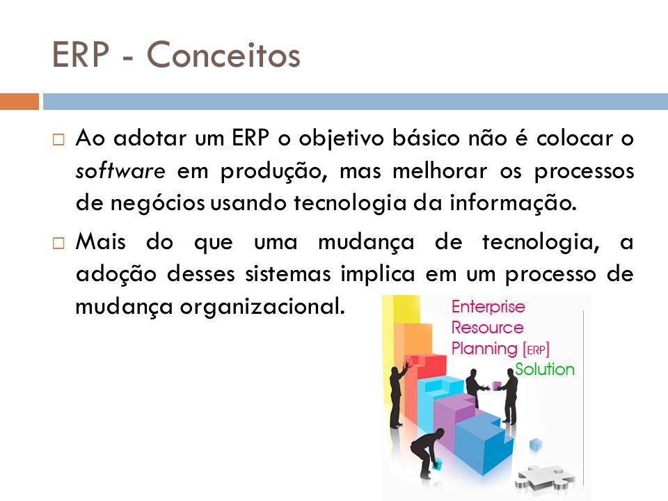 ERP - Conceitos Ao adotar um ERP o objetivo básico não é colocar o software em produção, mas melhorar os processos de negócios usando tecnologia da informação.
