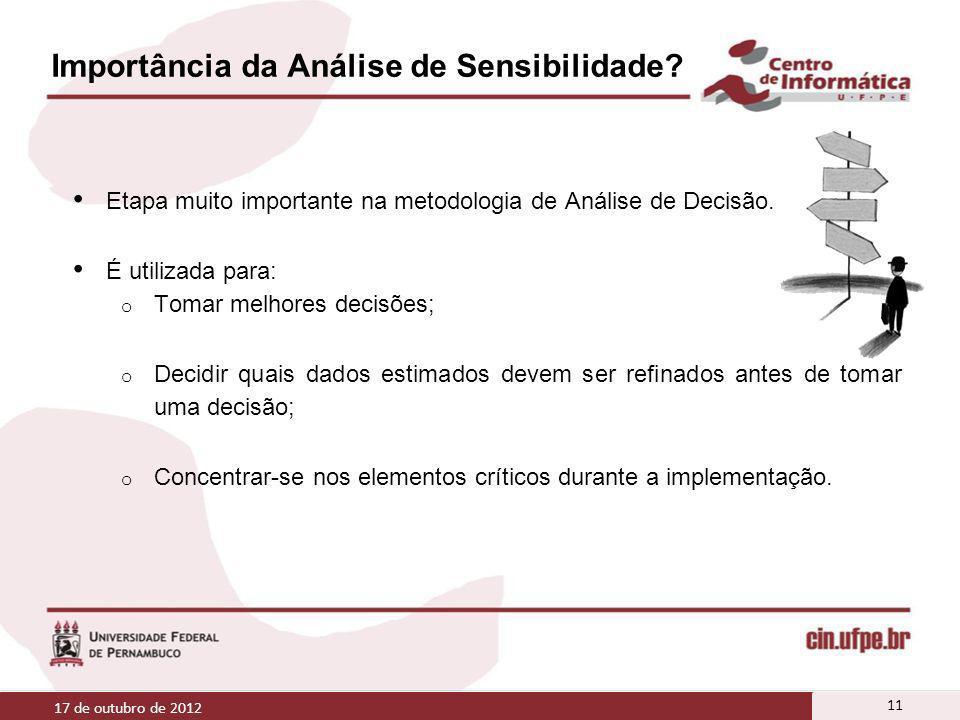Importância da Análise de Sensibilidade? Etapa muito importante na metodologia de Análise de Decisão. É utilizada para: o Tomar melhores decisões; o D