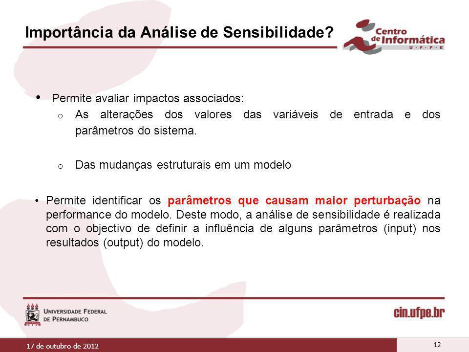 Importância da Análise de Sensibilidade? Permite avaliar impactos associados: o As alterações dos valores das variáveis de entrada e dos parâmetros do