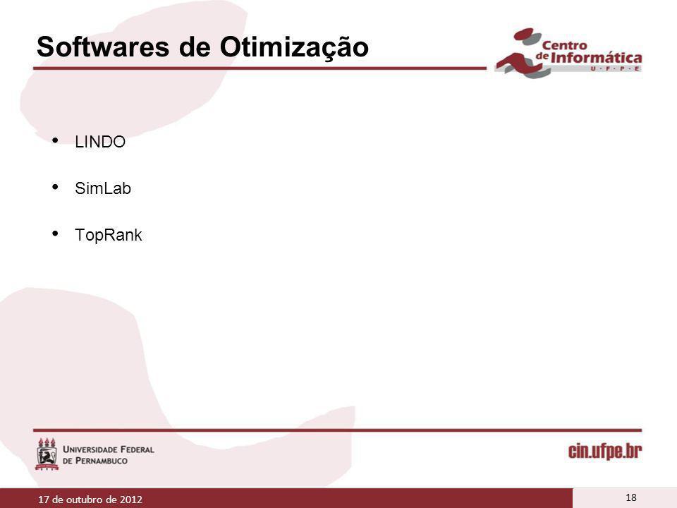 Softwares de Otimização LINDO SimLab TopRank 17 de outubro de 2012 18