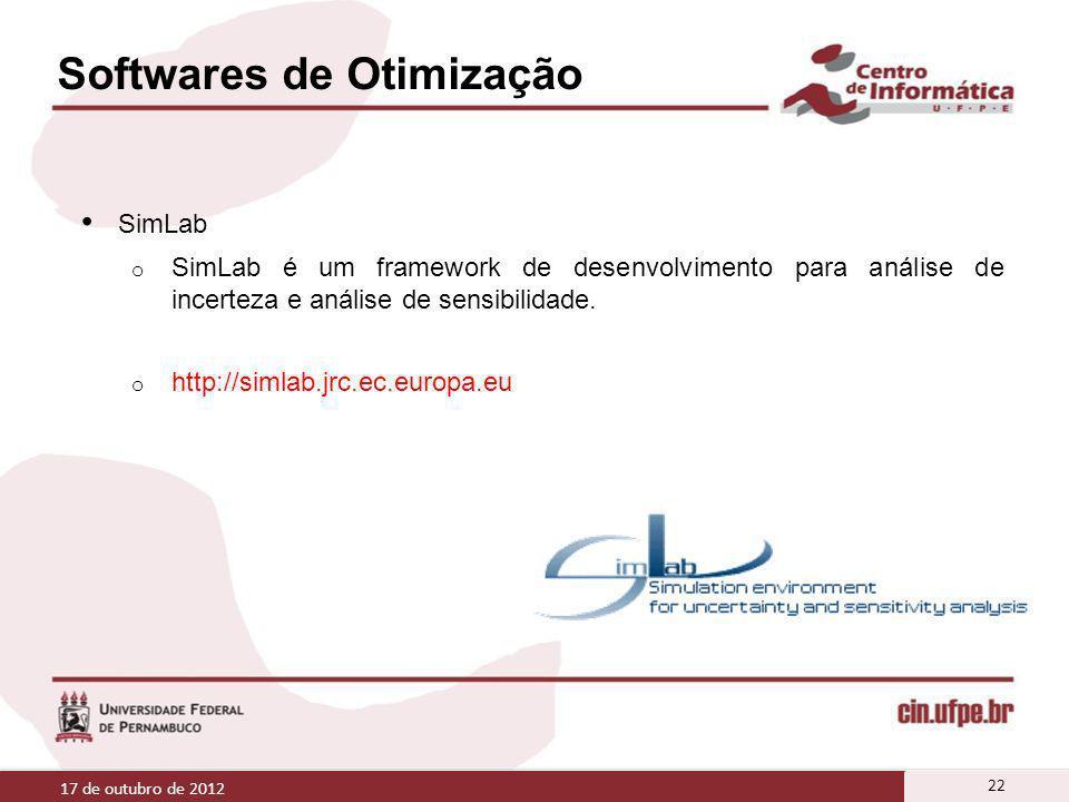 Softwares de Otimização SimLab o SimLab é um framework de desenvolvimento para análise de incerteza e análise de sensibilidade. o http://simlab.jrc.ec
