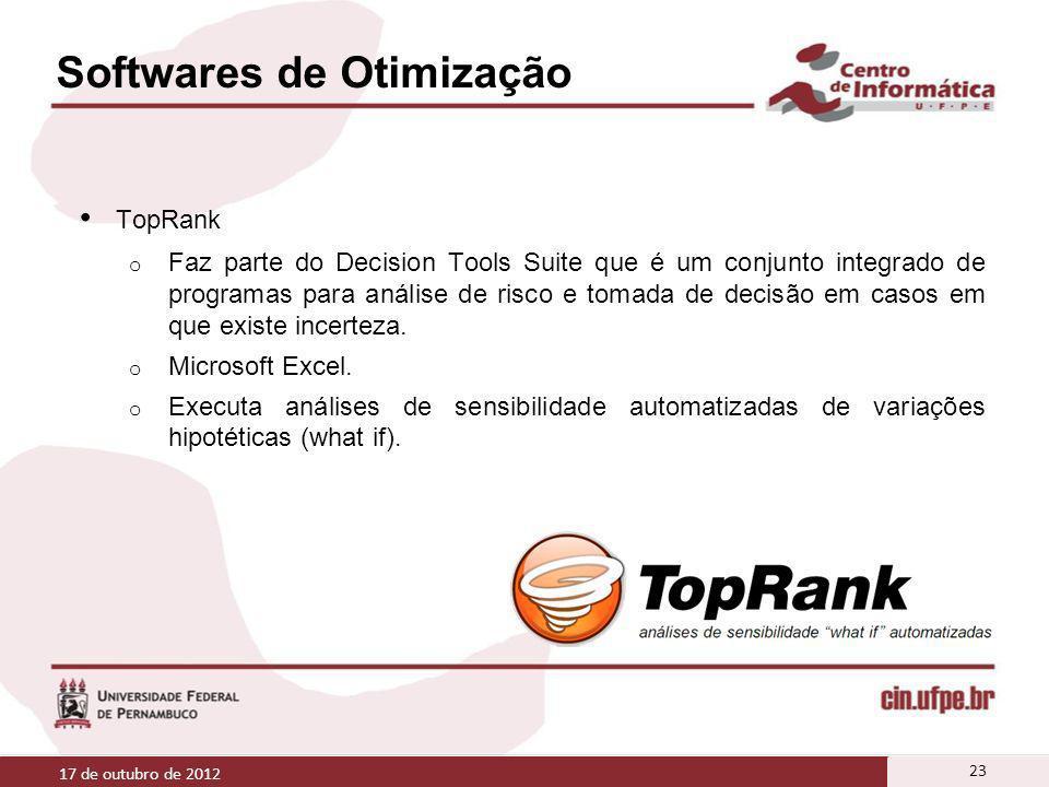 Softwares de Otimização TopRank o Faz parte do Decision Tools Suite que é um conjunto integrado de programas para análise de risco e tomada de decisão